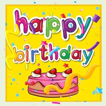 Cartão de aniversário com bolo rosa