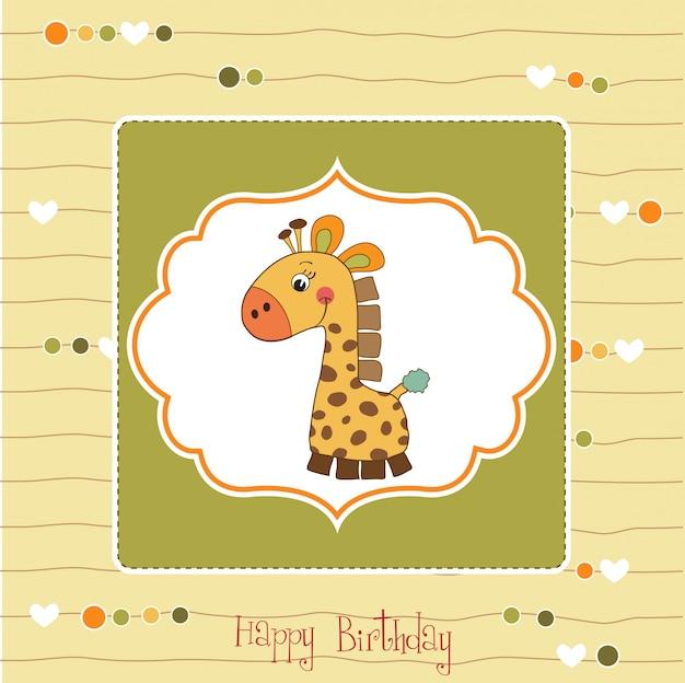 Cartão de aniversário com brinquedo girafa