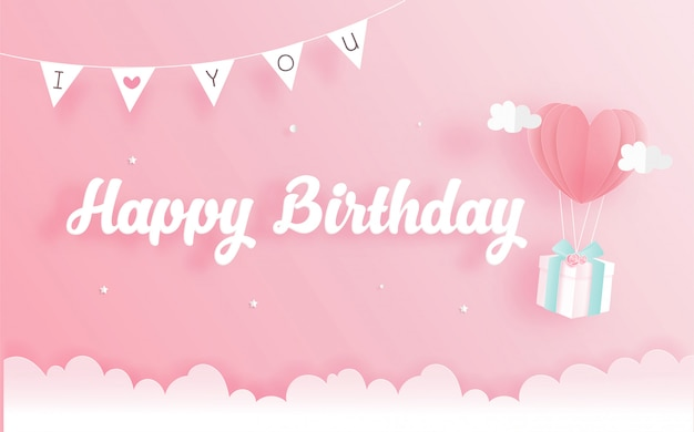 Cartão de aniversário com caixa de presente em papel cortado estilo. ilustração vetorial