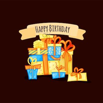 Cartão de aniversário com caixas de presente. estilo de desenho animado. ilustração vetorial.