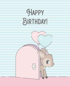 Cartão de aniversário com cartoon veado premium
