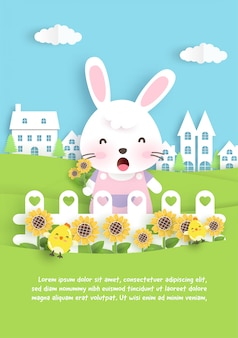 Cartão de aniversário com coelho fofo e girassol em estilo de corte de papel.