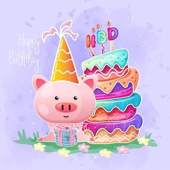 Cartão de aniversário com desenhos animados de porco bebê fofo.