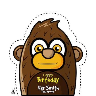 Cartão de aniversário com design de macaco