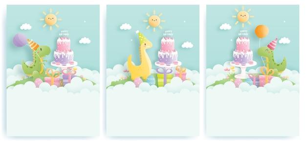 Cartão de aniversário com dinossauros fofos e caixas de presente, bolo de aniversário