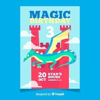 Cartão de aniversário com dragão colorido