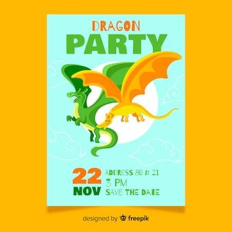 Cartão de aniversário com dragões coloridos