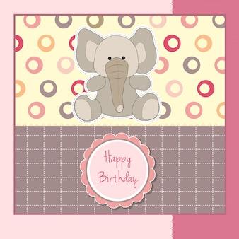 Cartão de aniversário com elefante bebê