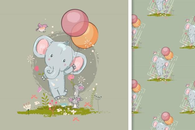 Cartão de aniversário com elefante fofo e padrão sem emenda