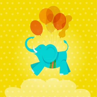 Cartão de aniversário com elefante