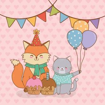 Cartão de aniversário com floresta de animais fofos