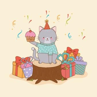 Cartão de aniversário com floresta de gato fofo