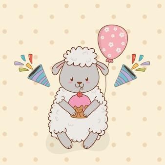 Cartão de aniversário com floresta de ovelhas
