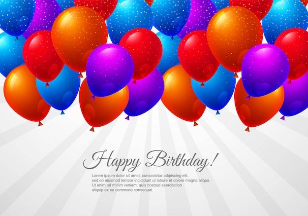 Cartão de aniversário com fundo de celebração de balões