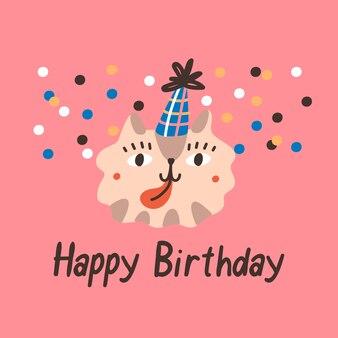 Cartão de aniversário com gato fofo