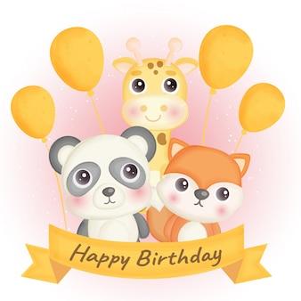 Cartão de aniversário com girafa, panda e raposa fofa.