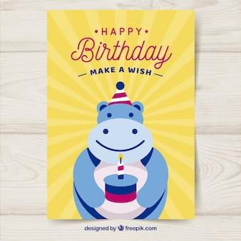Cartão de aniversário com hipopótamo em estilo plano