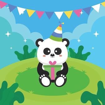 Cartão de aniversário com ilustração de desenho de panda fofo