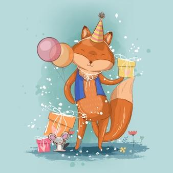 Cartão de aniversário com ilustração de raposa bonita