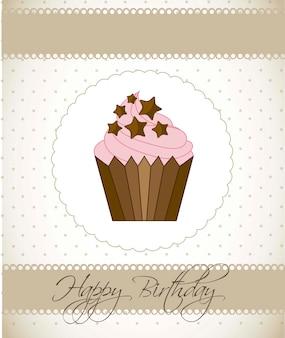 Cartão de aniversário com ilustração em vetor estilo vintage bolo cup