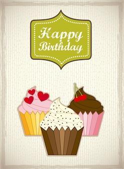 Cartão de aniversário com ilustração em vetor estilo vintage bolos cup