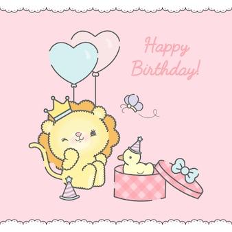 Cartão de aniversário com leão cartoon premium