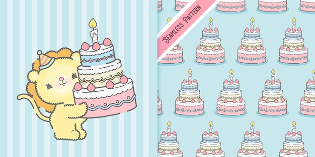Cartão de aniversário com leão de desenho animado e padrão sem emenda premium