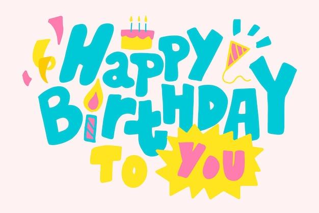 Cartão de aniversário com letras à mão
