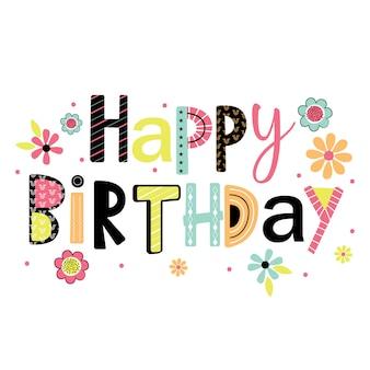 Cartão de aniversário com letras feliz aniversário