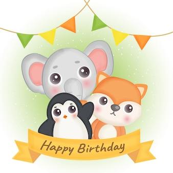 Cartão de aniversário com linda raposa, elefante e pinguim.