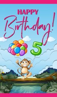 Cartão de aniversário com macaco e balões