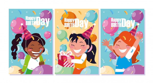 Cartão de aniversário com meninas comemorando