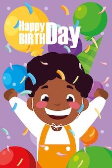 Cartão de aniversário com menino negro comemorando