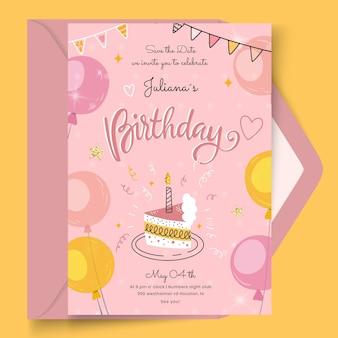 Cartão de aniversário com modelo de bolo