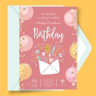 Cartão de aniversário com modelo de envelope