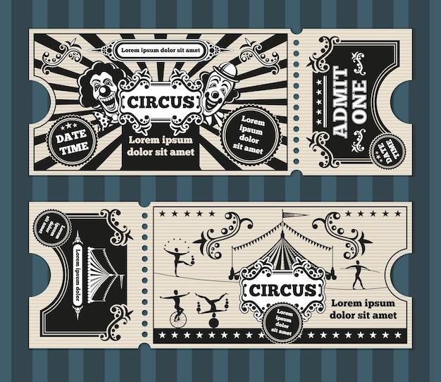 Cartão de aniversário com modelo de ingressos de circo