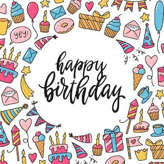 Cartão de aniversário com moldura de rabiscos