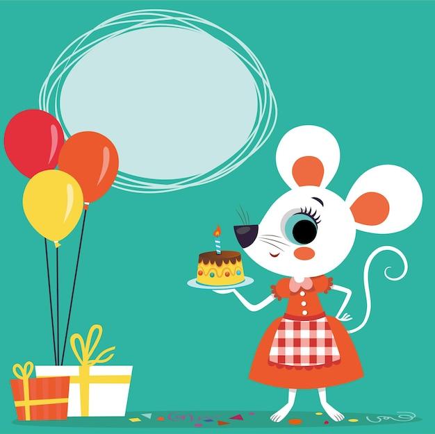 Cartão de aniversário com personagem de desenho animado de mouse