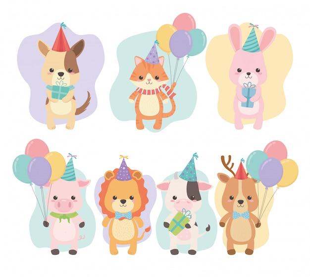 Cartão de aniversário com personagens de pequenos animais