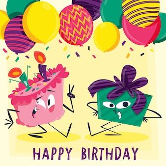 Cartão de aniversário com personagens engraçados ilustrados