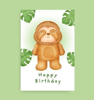 Cartão de aniversário com preguiça fofa em estilo aquarela
