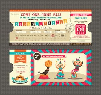 Cartão de aniversário com projeto da passagem do bilhete do circo Molde