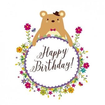 Cartão de aniversário com quadro floral