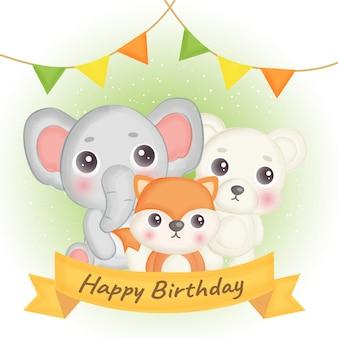Cartão de aniversário com raposa bonita, elefante e urso.