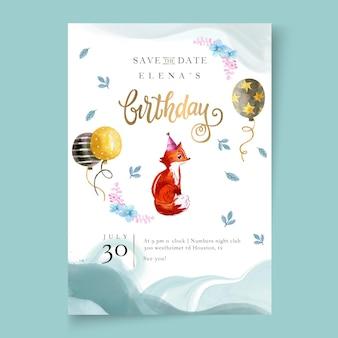 Cartão de aniversário com raposa