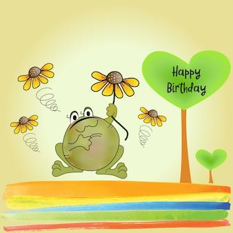 Cartão de aniversário com sapo engraçado