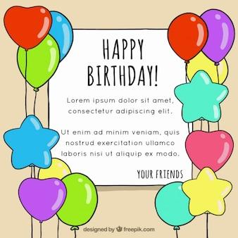 Cartão de aniversário com tirados mão balões coloridos