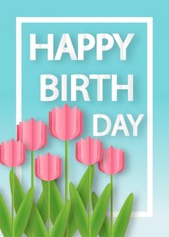 Cartão de aniversário com tulipas em estilo de corte e artesanato de papel.