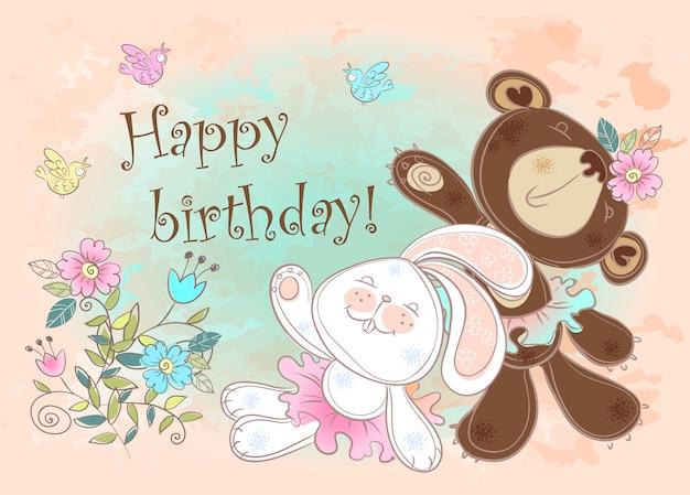 Cartão de aniversário com um coelho e um urso.