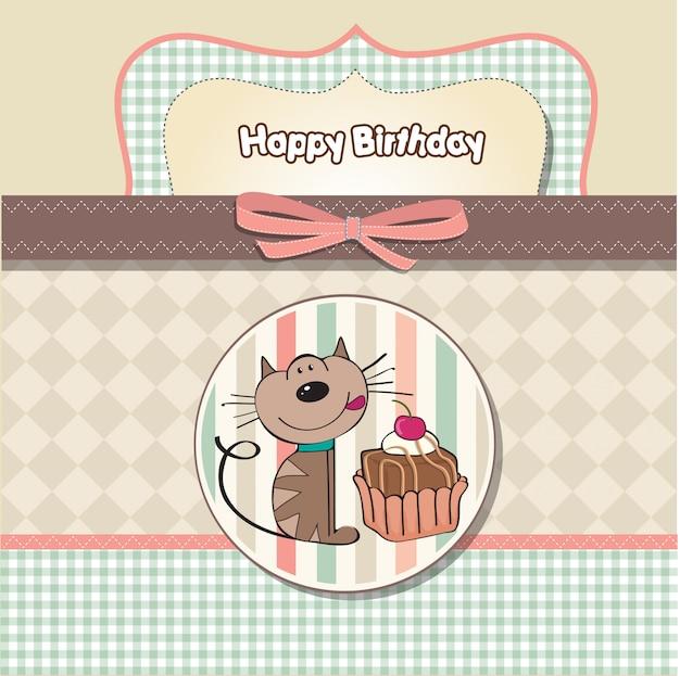 Cartão de aniversário com um gato esperando para comer um bolo